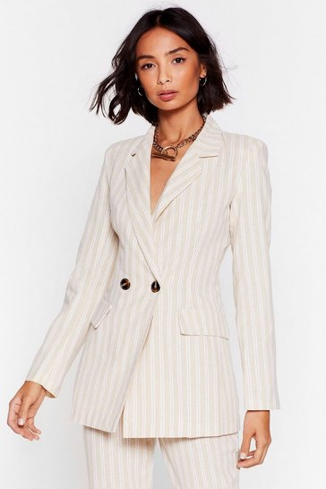 Stone Stripe Time and Place Linen Double Breasted Blazer