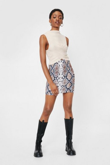 Brown Hiss is All You Need Snake Mini Skirt
