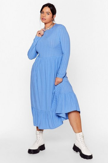 Blue Recycled Not Like Hem Plus Midi Dress