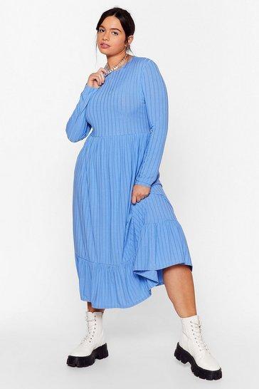 Blue Recycled Not Like Hem Plus Midi Dress