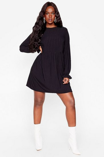 Black Whatever Rib Takes Plus Mini Dress