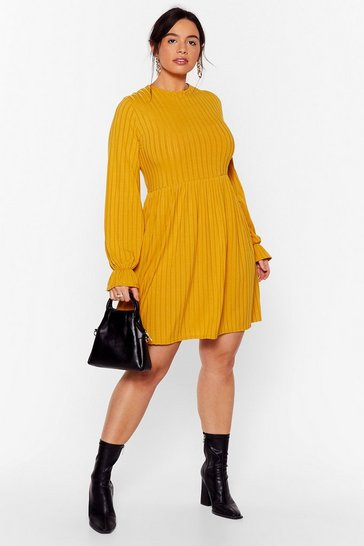 Mustard Whatever Rib Takes Plus Mini Dress