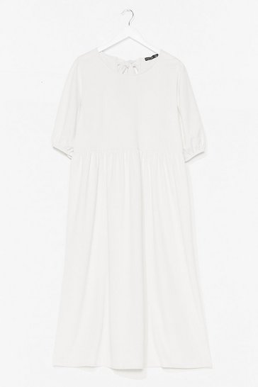 White Getting Midi With It Plus Puff Sleeve Dress