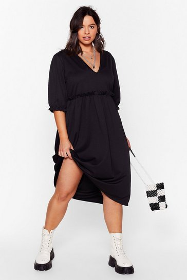 Black Frill Doing Our Own Thing Plus Midi Dress