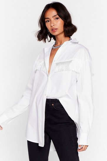 White Kick Off Your Boots Tassle Relaxed Shirt