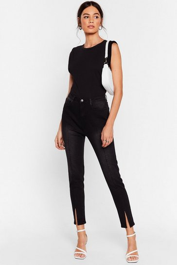 Black Get Slit Done High-Waisted Skinny Jeans