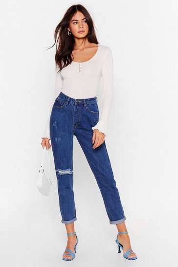 Mid blue Shred That Wave Distressed Mom Jeans