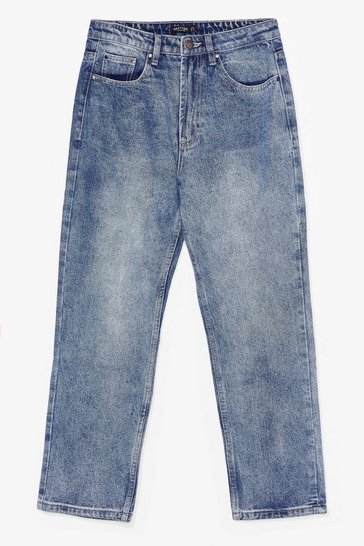 Mid blue A Classic Cropped Mom Jeans