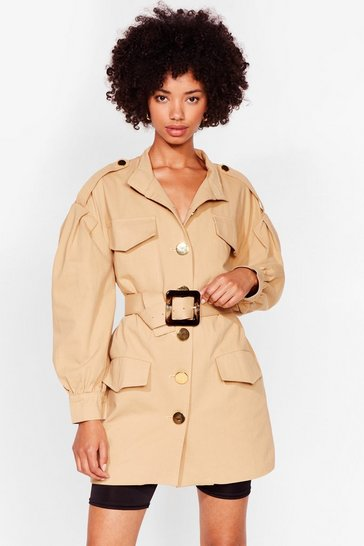 Beige A Hard Days Night Belted Utility Jacket