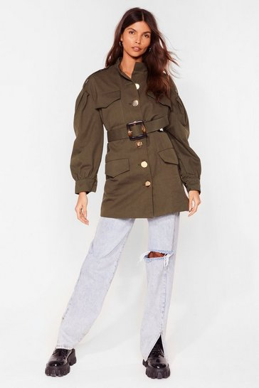 Khaki A Hard Days Night Belted Utility Jacket