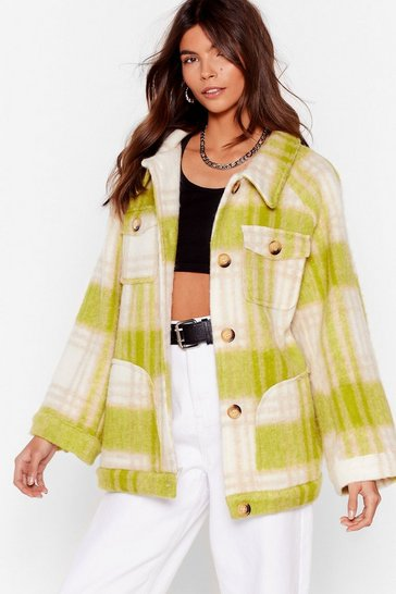 Lime I'm In a Brushed Oversized Check Jacket