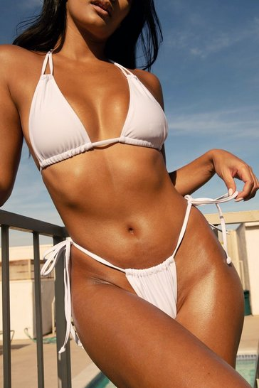 White Summer Lovin' High-Leg Tie Bikini Bottoms
