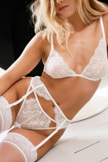 White Not The Lace 3pc Bralet Panty + Suspender Set