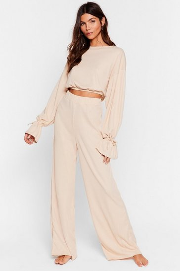 Cream Recycled Tie-ing to Relax Wide-Leg Pants Set