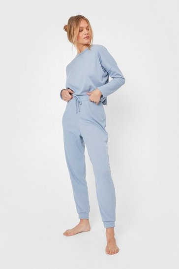Ensemble de confort côtelé sweat & pantalon Je suis OKLM, Dusty blue
