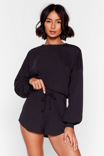 Ensemble de confort sweat & short côtelé Destination détente totale, Black