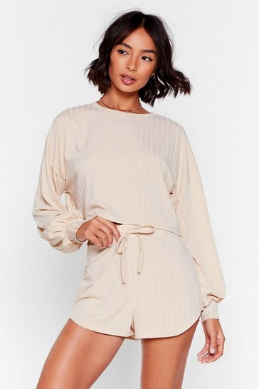 Ensemble de confort sweat & short côtelé Destination détente totale, Cream