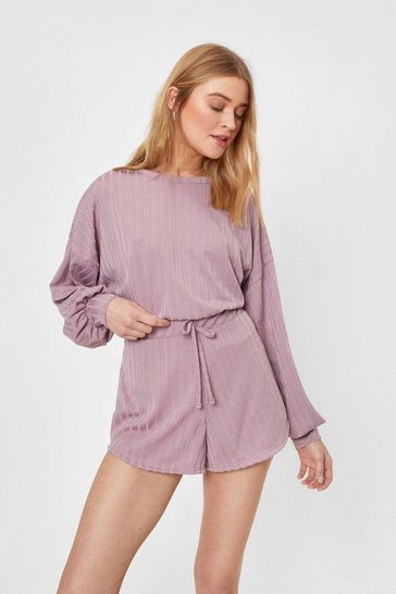 Taupe Recycled Ribbed Sweatshirt and Shorts Lounge Set