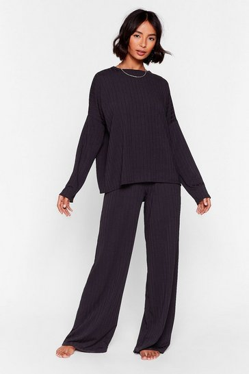Ensemble de confort oversize top & pantalon La Zen attitude, Black