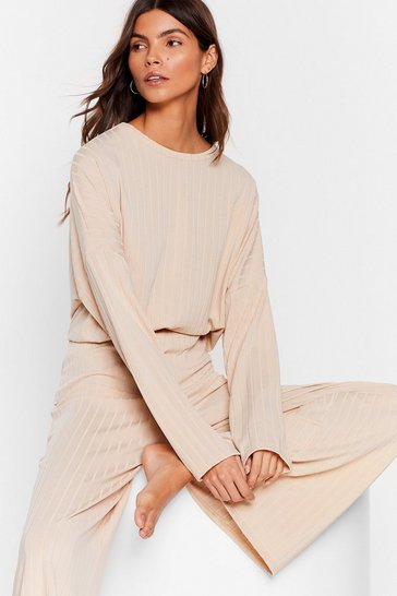 Oatmeal Recycled Let's Chill Wide-Leg Pants Lounge Set