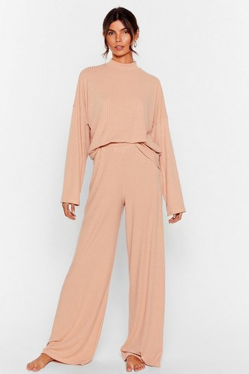 Oatmeal Chill Out Wide-Leg Trousers Lounge Set