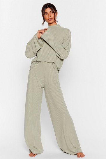 Sage Recycled Chill Out Wide-Leg Pants Lounge Set