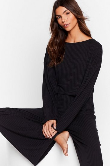 Black Recycled Ribbed Top and Wide Leg Pants Lounge Set
