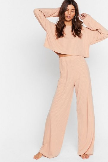 Oatmeal Recycled Keep Your Cool Ribbed Top and Pants Set