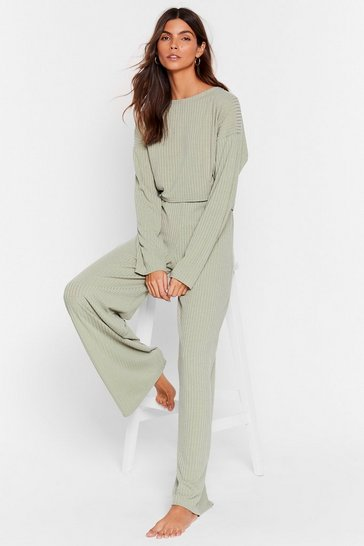 Sage Recycled Keep Your Cool Ribbed Top and Pants Set