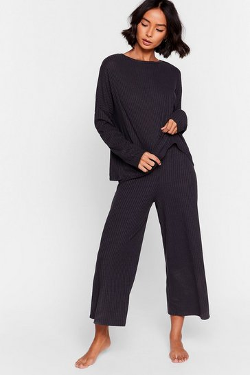 Black Recycled Shake Rib Up Pants Lounge Set