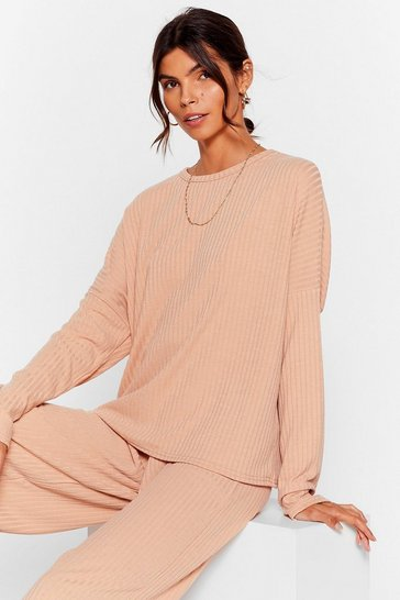 Oatmeal Shake Rib Up Trousers Lounge Set