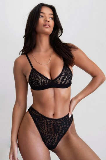 Black Secret Garden Bralette and High-Leg Knickers Set
