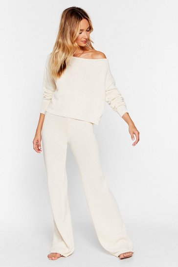 Cream Day Off-the-Shoulder Pants Lounge Set