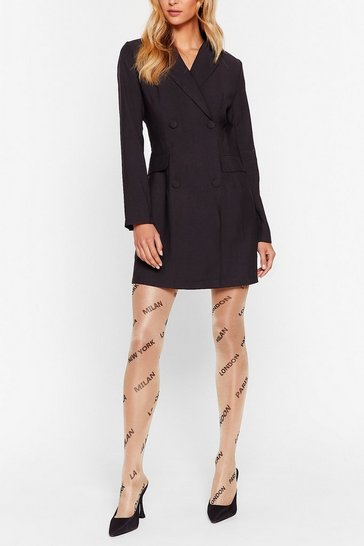 Nude Moving City to City Sheer Graphic Tights