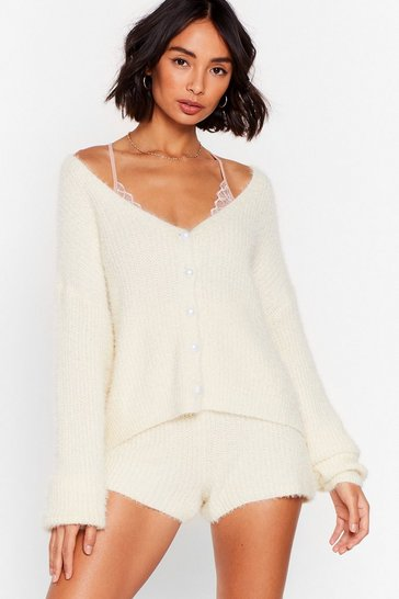 Cream What a Pearl Wants Fluffy Knit Lounge Set