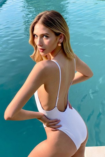 White V Neck Low Back High Leg Swimsuit