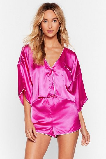 Fuchsia You've Made Your Bed Satin PJ Short Set