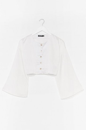 White Been Flare Done That Satin Cropped Blouse