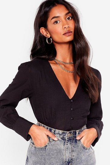Black Linen What They Want V-Neck Cropped Blouse