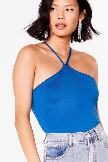 Cobalt Halter 'Em Over Slinky Crop Top