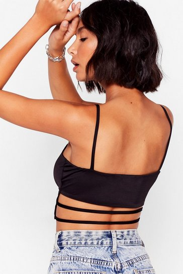 Black Come On Get Strappy Square Neck Crop Top
