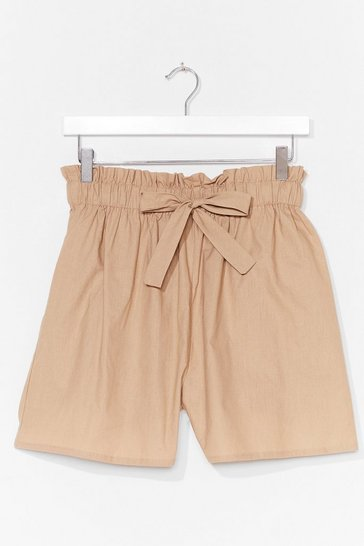 Camel Tie Back Later Paperbag Shorts