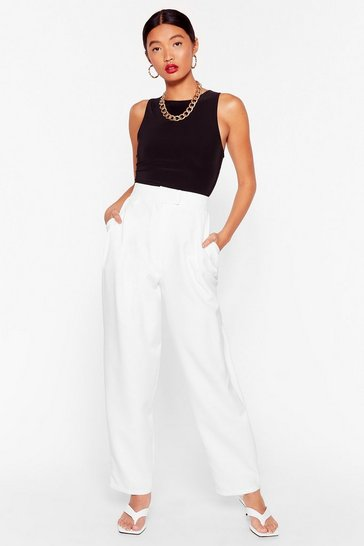 White Get to the Bottom of It High-Waisted Tapered Pants
