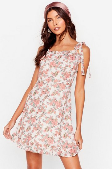 White Tie Strap Floral Mini Summer Dress