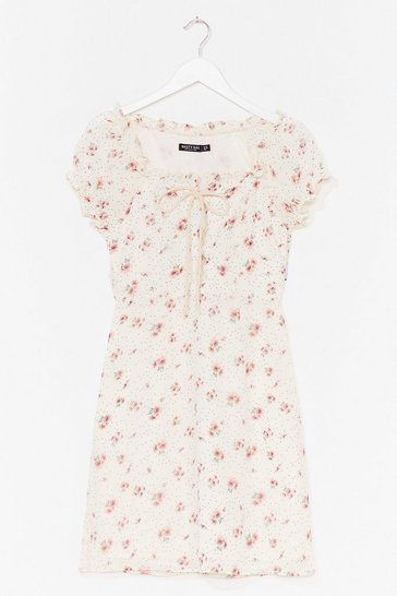 White Lace-Up Your Game Floral Mini Dress