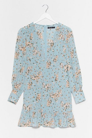 Baby blue On the Flip Side Plunging Floral Dress