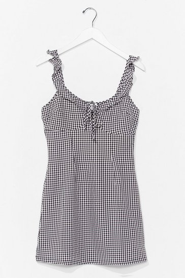 Black Picnic By the Sea Gingham Mini Dress
