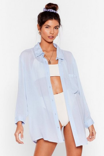 Powder blue Vacay Mode Relaxed Cover Up Shirt