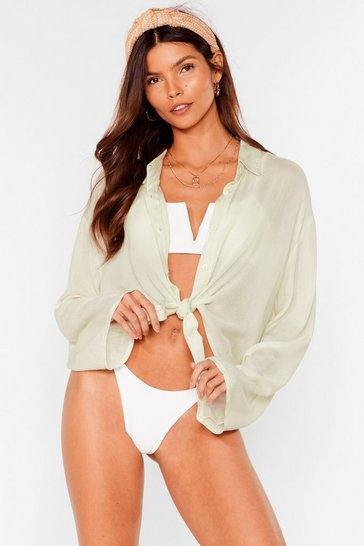 Sage Tie Us Later Cropped Cover Up Shirt