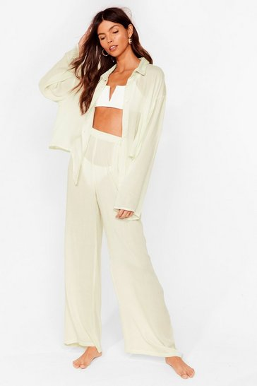 Sage Long Line No Sea Cover Up Trousers